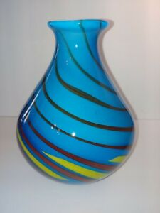 "Murano? hand blown art glass vase aqua blue with candy swirls heavy 9"" Tall."