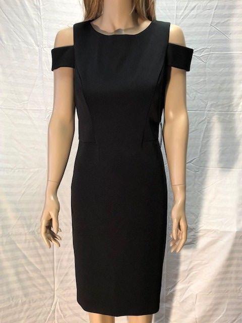 c8666f6db17 Vince Camuto Womens Slight Boat Neck Cold Shoulder Sheath Dress Black 10  for sale online