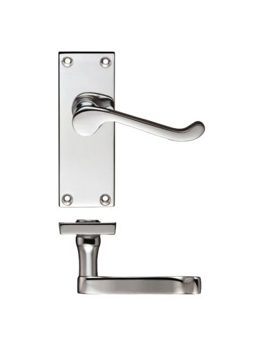 Victorian Scroll Polished Chrome Lever Latch Handle on Plate