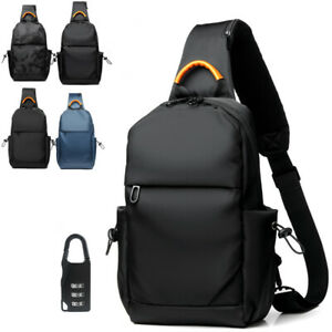 FREE-Padlock-Water-Resistant-Sling-Backpack-Chest-Pack-Single-Strap-Daypack
