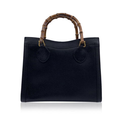 Authentic Gucci Vintage Black Leather Bamboo Prin… - image 1