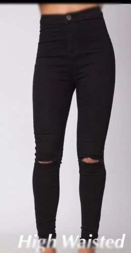 Donna NUOVI vita alta Stretch Skinny Fit Ripped Knee Jeans in Denim Nero Taglia 6-24
