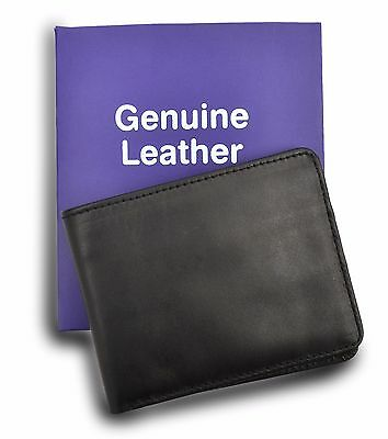 Genuine Leather Black Folded Wallet Credit Card Id Holder Purse Moneybag Coin