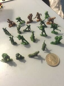 Vintage-Army-Men-Soldier-Action-Figures-WW2-Green-amp-Brown-Plastic-Lot-of-20