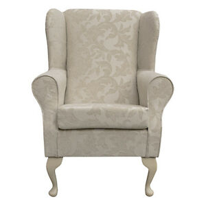 Image Is Loading Fireside Wingback Chair In Pale Cream Fortuna Floral