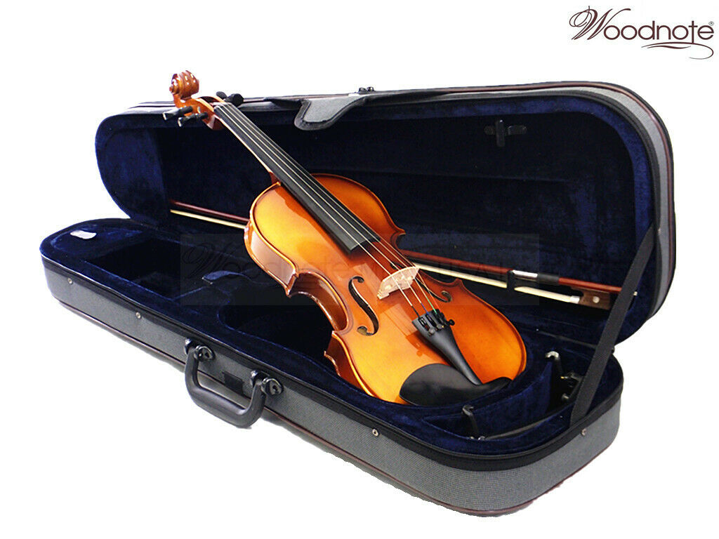 New 4 4 Solidwood Ebony Violin+Bow+Rosin+Case+Shoulder Rest+Free String Set