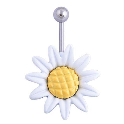 Fashion Daisy Flower Dangle Belly Button Rings Body Piercing  Navel Bar YL