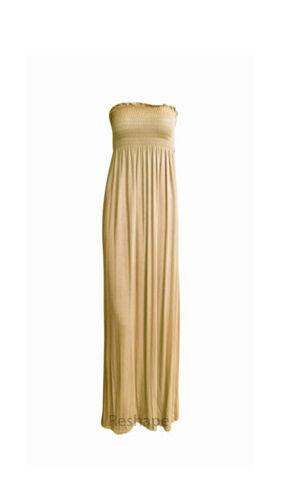 Womens Ladies Sheering Boobtube Bandeau Long Summer Strapless Maxi Dress 8-22