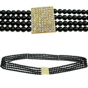 0d7ddd366d3 CEINTURE bijoux femme PERLES NOIRES élastique attache dorée strass ...