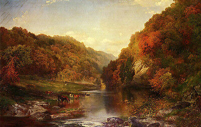 Autumn on the Wissahickon /& animal cows by river Art Oil painting Thomas Moran