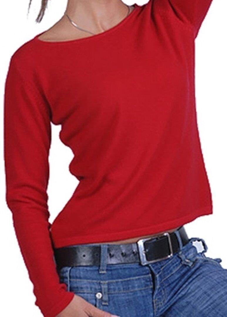 Balldiri Rundhals 100% Cashmere Damen Pullover Rundhals Balldiri 2-fädig rot M b176d3