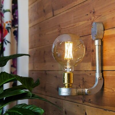 Vintage Style Wall Light Plus Led Filament Lamp Galvanised Conduit Ebay
