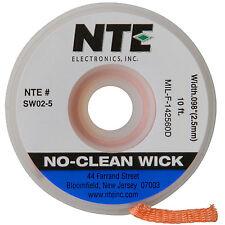 "NTE Electronics Sw02-10 No-clean Solder Wick #4 Blue .098"" Width 10ft Length"
