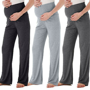 Women-039-s-Maternity-Wide-Straight-Lounge-Pants-Stretch-Pregnancy-Trousers-Leggings