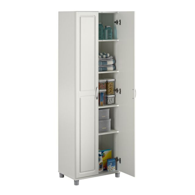 """MDF and Particleboard Systembuild White Kendall 36/"""" Utility Storage Cabinet"""