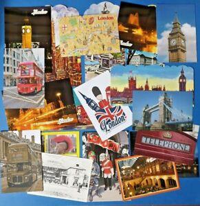 London-Postcards-Lot-of-20-Landmarks-City-Views-Big-Ben-Tower-Bridge-Map-NEW