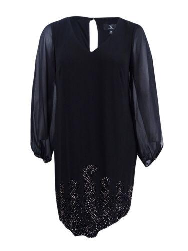 X By Xscape Women/'s Plus Size Cold-Shoulder Beaded Dress