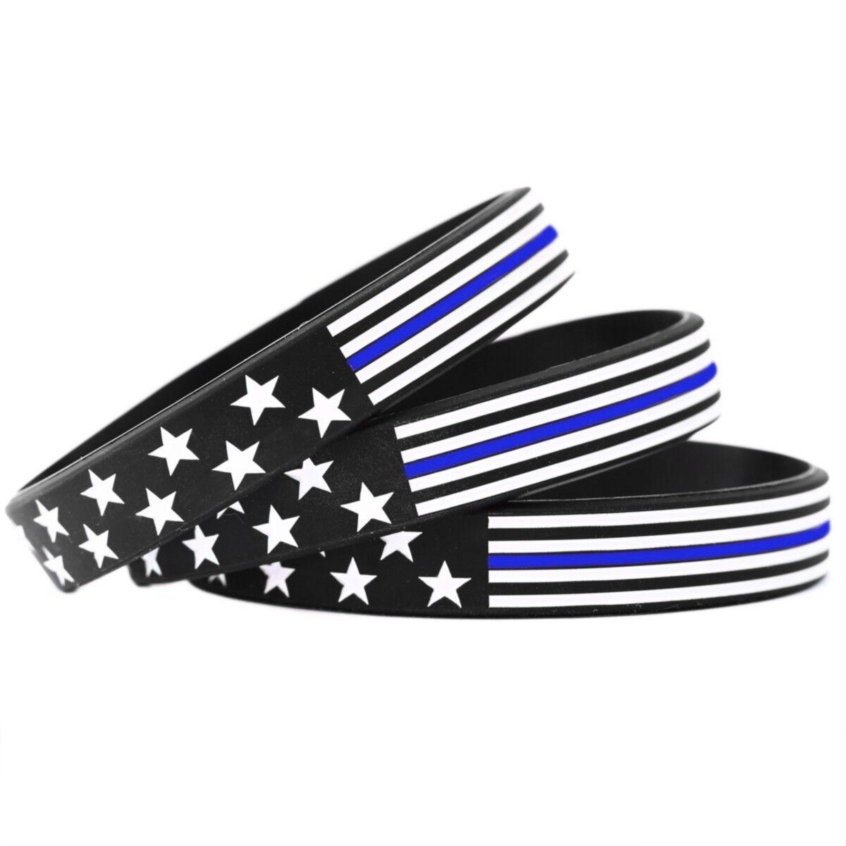 200 US Flag Stars and and Stars Stripes Wristband Featuring Thin Blau Line - USA Bracelets 5573e2