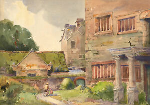 Edward-Williams-Signed-Early-20th-Century-Watercolour-Grassy-Street