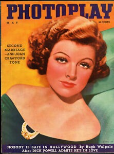 PHOTOPLAY-MAY-1936-Myrna-Loy-cover-James-Flagg-two-page-spread