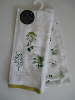 Cynthia Rowley Set Of Two Dish Kitchen Towels Herbs 100% Cotton