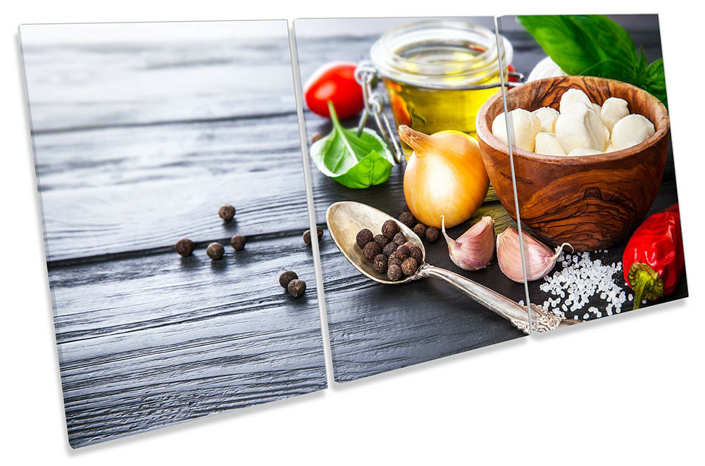 Italian Cooking Ingrotiants Picture CANVAS WALL ART TREBLE Print