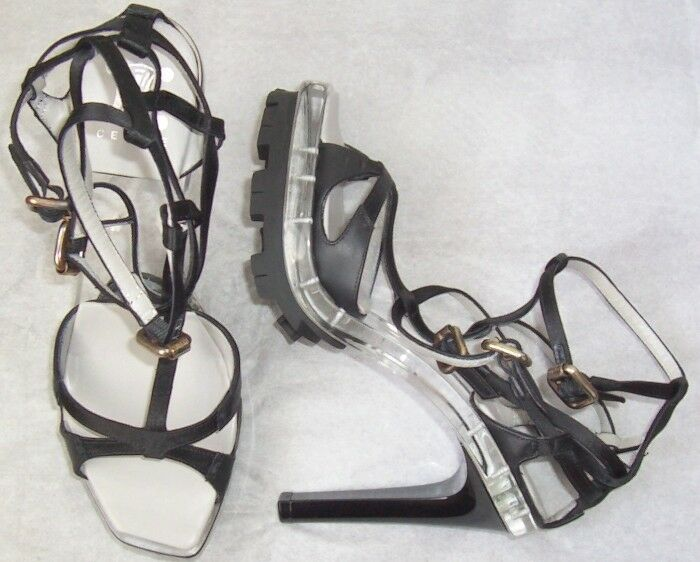 CELINE Satin Noir Lucite Multi Bride Bride Bride Plateforme Sandales Chaussures 36 6 1216b8