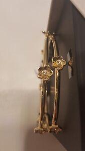 COACH-Gold-Tone-Flower-Bangles-Bracelet-Set-of-2-F73178-NIB-w-tag