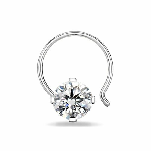 Sterling Silver Round Cut Solitaire 1//4 Ct 14K or Blanc FN Women/'s Nose Pin