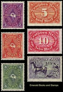 EBS-Germany-1922-Posthorn-Numeral-amp-Ploughman-Definitives-Michel-191-196-MNH