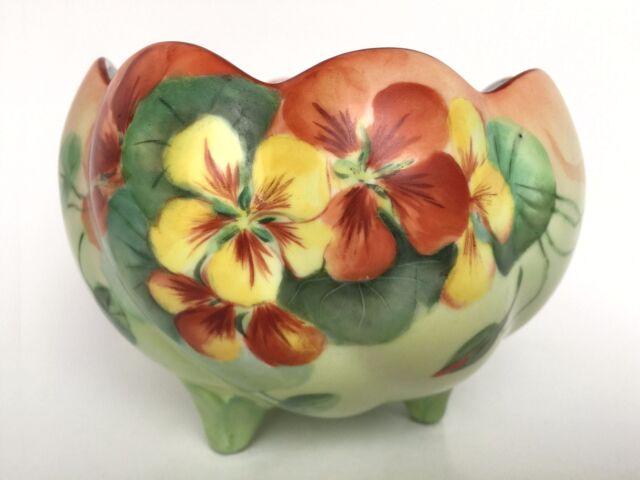"Vintage Porcelain Hand Painted Orange Yellow Pansies Footed Rose Bowl 5"""