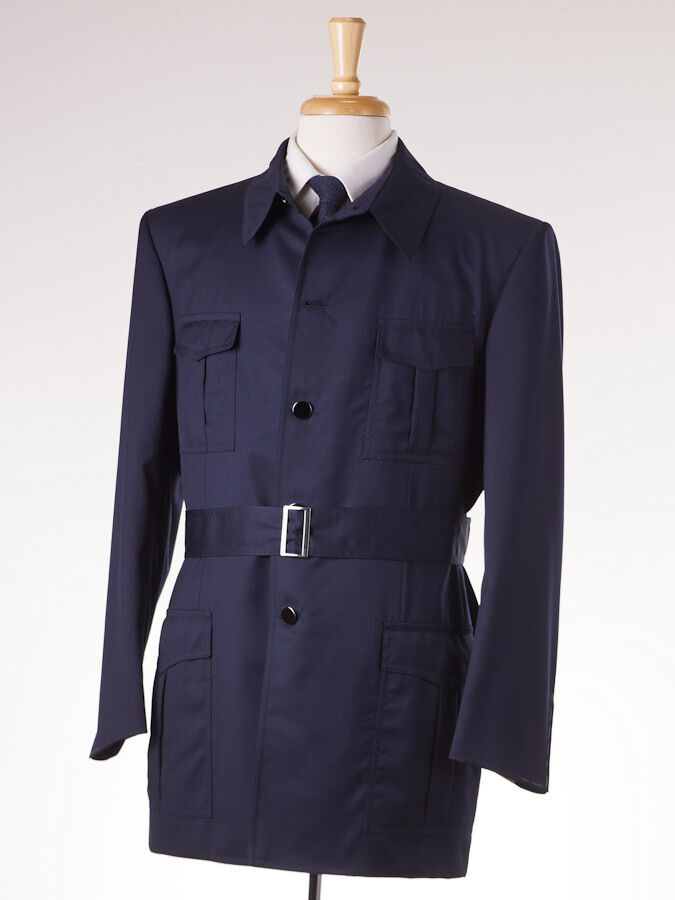 NWT  4295 D'AVENZA Military-Detailed Navy Blau wolleSuit 42 R Belted Front
