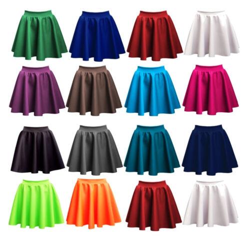 Ladies Skirts Womens Belted Flared Plain Mini Skater Skirt All Sizes*PnT