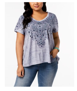 NEW-Style-Co-Women-039-s-Plus-Printed-Short-Sleeve-Swing-Hem-Top-Blue-Sizes-0X-2X