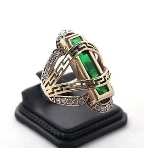 925-Sterling-Silver-Handmade-Authentic-Turkish-Emerald-Ladies-Ring-Size-6-10