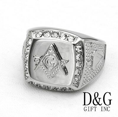 DG Men's Silver Stainless Steel,Masonic CZ Ring Size 8 9,10,11,12 13,BOX