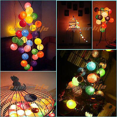 10 COTTON BALL FAIRY LED STRING LIGHTS WEDDING PARTY CHRISTMAS DECOR Multicolor
