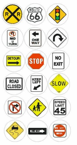 Road Signs Train Labels Stickers Decals CRAFT Teachers SCHOOLS Made In USA #D163