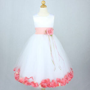 f8ac4a3935d WHITE PEACH CORAL Flower Girl Dress Petals Dance Birthday Formal ...