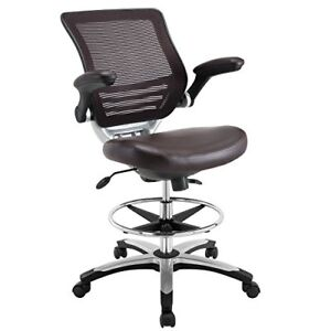 Details About Modway Edge Drafting Chair In Brown Vinyl   Reception Desk  Chair   Tall Office C