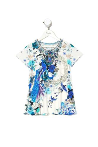 Camilla White Side of the Moon Kids T-Shirt Dress with Flare Hem Girls Sun Dress