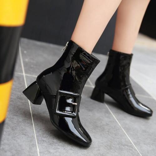 Puntige Dames Schoenen Gesp Maat Teen Enkellaarzen Mid Mode Heel Lakleer 0w8mnNOv