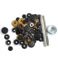 Black Matte Fasteners Poppers Press Studs 15x15mm Coat Canvas Leather Buttons Us