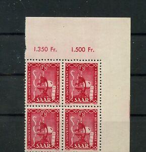 Germany-Saar-Saarland-vintage-yearset-1949-Mi-264-4erBlock-Mint-MNH