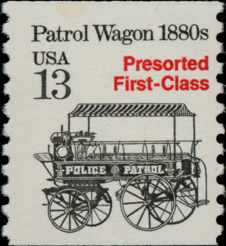 1988 13c Police Wagon, Coil Scott 2258 Mint F/VF NH