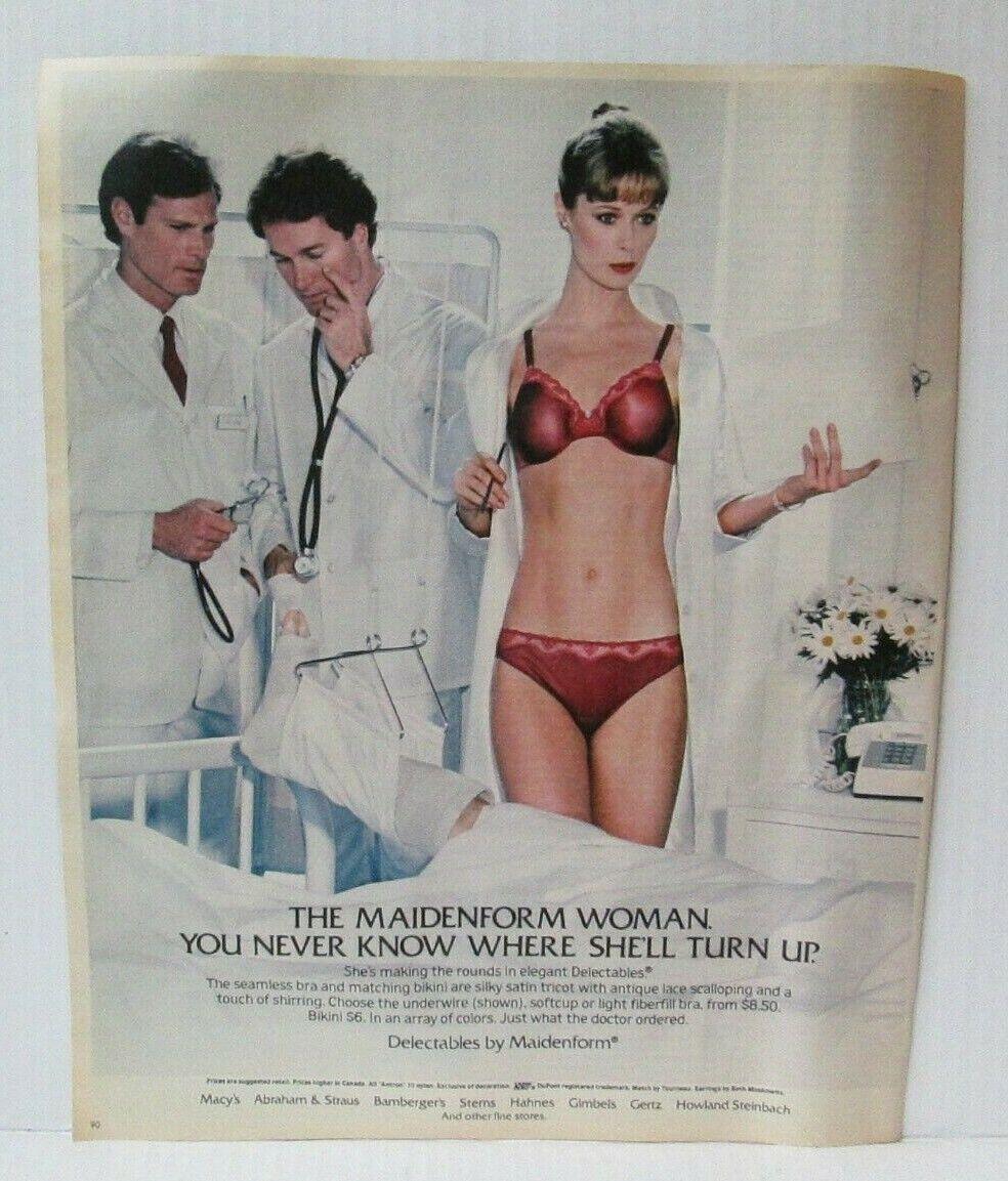 "Image 1 - WOMAN WEARING MAIDENFORM BRA 1980's 10"" X 12.5"" Newspaper Magazine Ad LM3"