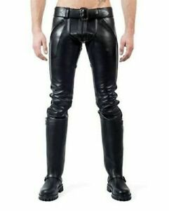 Men-039-s-Leather-Pants-Double-Zips-Pants-Jeans-Trousers-Breeches-BLUF-lederhosen