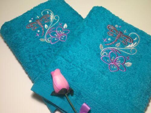 Main /& serviettes mousseux libellules Personnalisé de luxe serviettes Gants