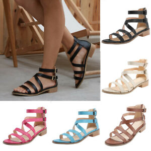 Womens-Strappy-Gladiator-Sandals-Ladies-Summer-Buckle-Flats-Low-Heel-Shoes