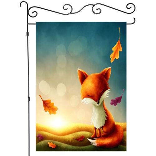 Welcome Sunlight Red Fox Cartoon Animals Garden Flag House Flags Yard Banner